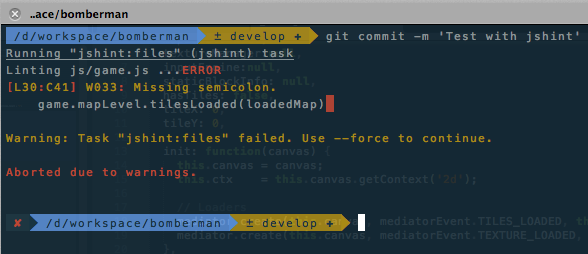 Warning Pre commit Command Screenshot